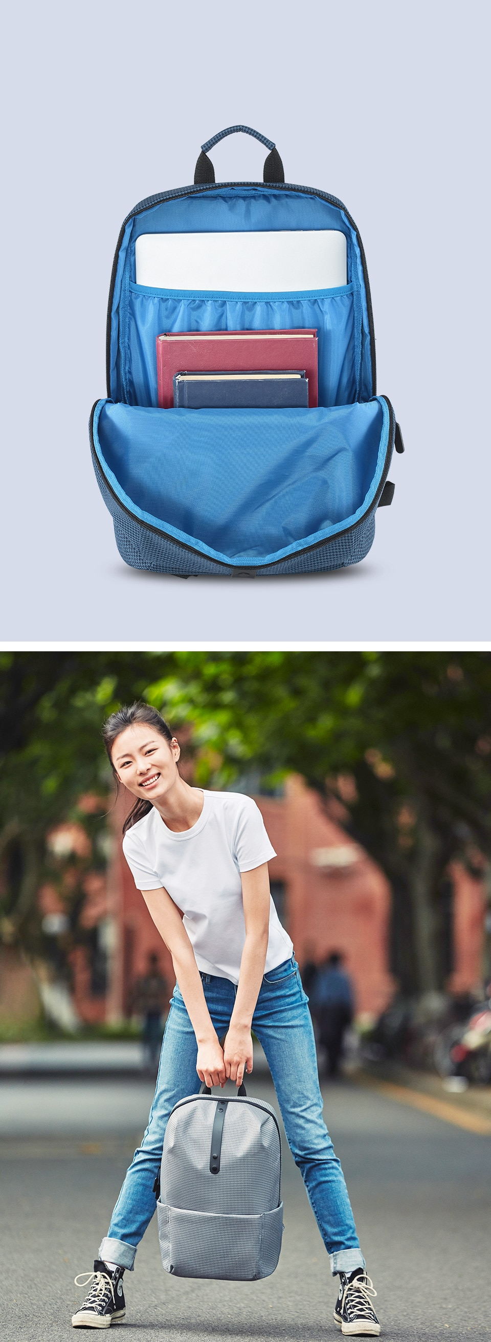 College Open Pocket Laptop Schoolbag Mochilas Backpack for girls and boys