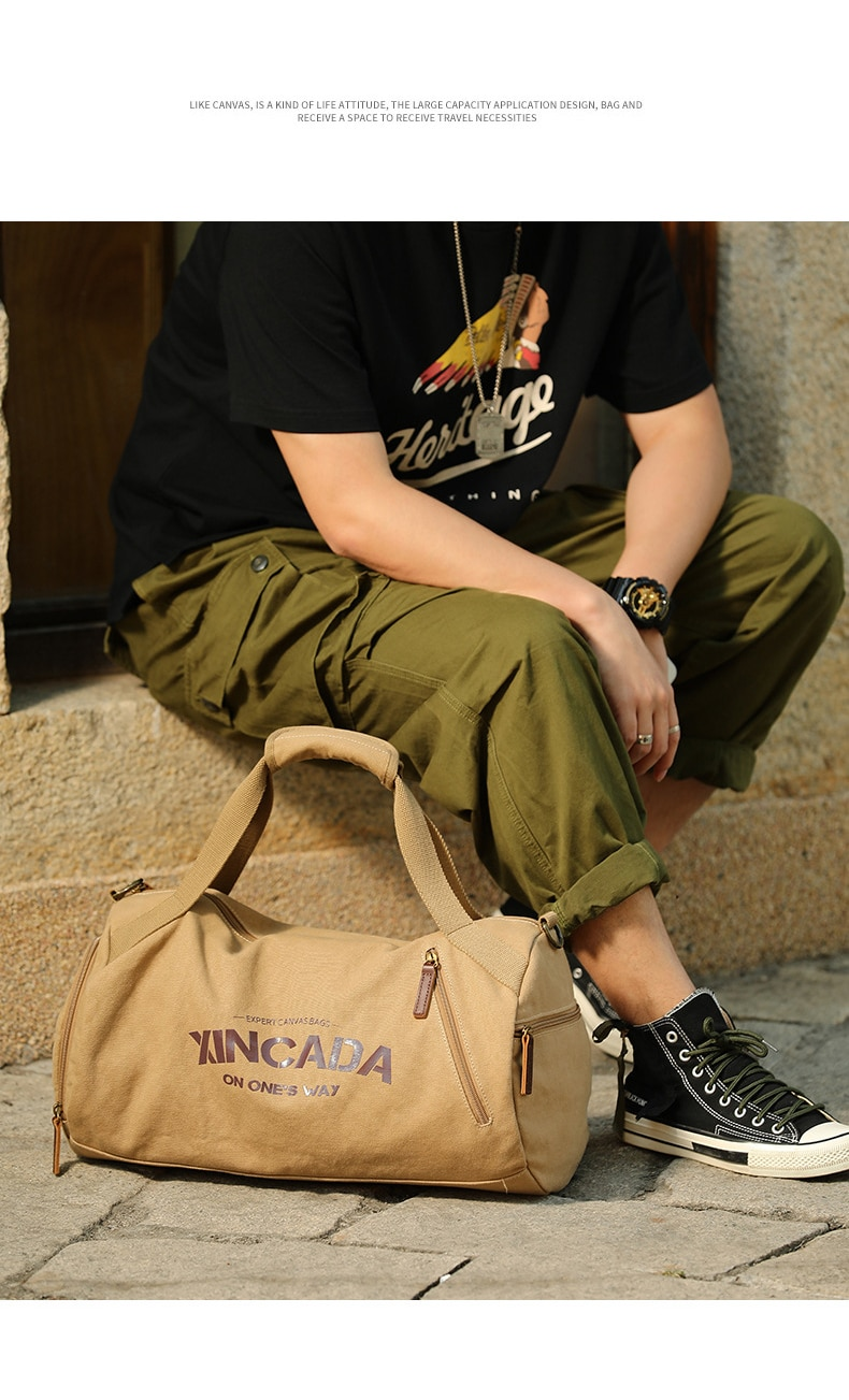 Large Capacity Canvas Travel Bags Fitness Sports Bag With Shoes Pocket Shoulder
